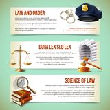 Law horizontal banners. Law and justice police criminal and prosecution horizontal banners vector illustration Stock Photography