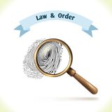 Law icon fingerprint under magnifier Stock Image