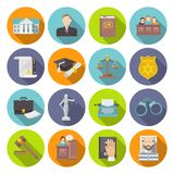Law Icon Flat. Set with lawyer jail court jury isolated vector illustration Royalty Free Stock Photography