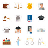 Law icon flat set with lawyer jail court jury isolated vector illustration Stock Photos