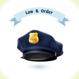 Law icon police hat. Isolated on white background vector illustration Royalty Free Stock Photography