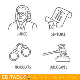 Law icon set include Jude Sentence Handclufs Gawel. Law icon set include Jude Sentence Handclufs Jude gawel. Editable vector icon in linear style Royalty Free Stock Photo