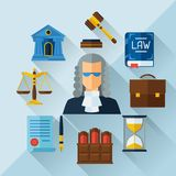 Law icons background in flat design style Royalty Free Stock Photography