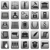 Law icons button sign . lady justice . police scales gavel prison  . Stock Photography