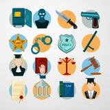 Law Icons Flat Royalty Free Stock Photography