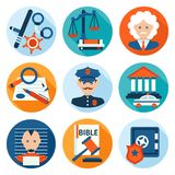 Law Icons Flat Stock Photo