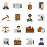 Law Icons Flat Set Royalty Free Stock Photo