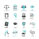 Law icons with reflection Stock Images