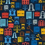 Law icons seamless pattern in flat design style Stock Image
