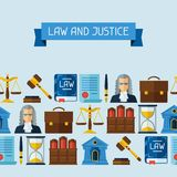 Law icons seamless pattern in flat design style Royalty Free Stock Image