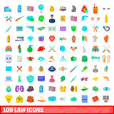 100 law icons set, cartoon style. 100 law icons set in cartoon style for any design illustration Royalty Free Stock Images