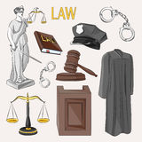 Law icons set. Stock Photography
