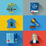 Law icons set in flat design style Stock Images
