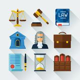 Law icons set in flat design style Royalty Free Stock Photos