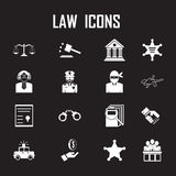 Law icons set. Illustration EPS 10 Royalty Free Stock Photos
