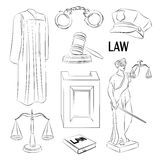 Law icons set. Stock Photos