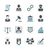 Law icons set Royalty Free Stock Photos