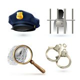 Law Icons Set. Law legal justice police icons set with officer hat handcuffs fingerprints isolated vector illustration Royalty Free Stock Photos