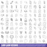 100 law icons set, outline style. 100 law icons set in outline style for any design vector illustration Stock Illustration