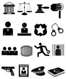 Law Icons Set. Vector illustration of law, justice, legal lack icons set on a white background Stock Image