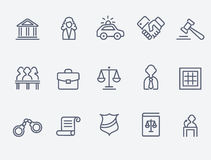 Law icons. Thin line style, flat design Royalty Free Stock Image