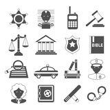 Law icons white and black Royalty Free Stock Photos