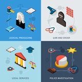 Law Isometric Set Royalty Free Stock Photo