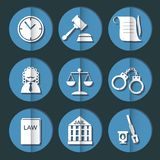 Law judge icon set, justice sign Royalty Free Stock Images