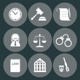 Law judge icon set, justice sign.  Royalty Free Stock Photo