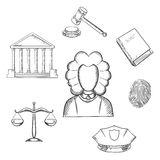 Law, judge and justice sketched icons Stock Photo