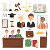 Law judge process legal court icon set judgement justice system people lawer jury and criminal concept vector Royalty Free Stock Photos