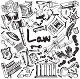 Law and judgement education handwriting doodle icon of justice s Royalty Free Stock Photo