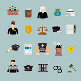 Law and judgment concept flat icons set Stock Photos