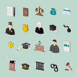 Law and judgment isometric concept icons Stock Images
