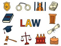 Law and justice art doodle with color full hand drawn sketching icon vector stock illustration