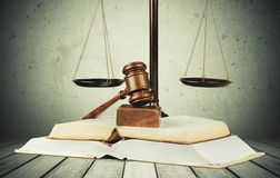 Law Justice. Book Legal System Weight Scale Education Gavel Intellectual Property Stock Photography