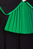 Law justice. Closeup lawyer attorney classic polish black green gown Royalty Free Stock Photography