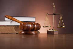 Law and justice composition with dark background Stock Image