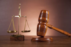 Law and justice composition with dark background Royalty Free Stock Image