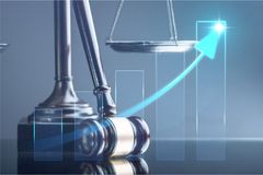 Law and justice concept. Arbitrate attorney auction authority background balance Stock Photography
