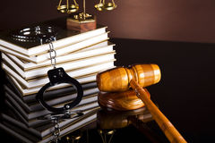 Law and justice concept, legal code and scales. Law, legal code and scales of justice Stock Image