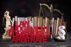 Law and justice concept, legal code and scales. Mallet, Law, legal code and scales of justice concept Royalty Free Stock Photos