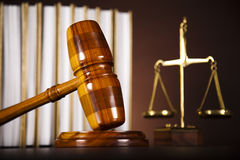 Law and justice concept, legal code and scales. Law theme, mallet of judge, wooden gavel Stock Images