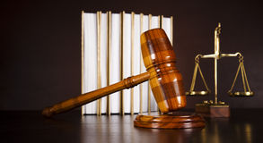 Law and justice concept, legal code and scales Stock Photo