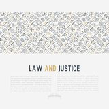 Law and justice concept with thin line icons. Judge, policeman, lawyer, fingerprint, jury, agreement, witness, scales. Vector illustration for banner, web page Stock Images