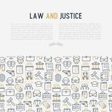 Law and justice concept with thin line icons. Judge, policeman, lawyer, fingerprint, jury, agreement, witness, scales. Vector illustration for banner, web page Royalty Free Stock Images