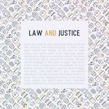 Law and justice concept with thin line icons. Judge, policeman, lawyer, fingerprint, jury, agreement, witness, scales. Vector illustration for banner, web page Stock Photography