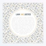 Law and justice concept with thin line icons. Judge, policeman, lawyer, fingerprint, jury, agreement, witness, scales. Vector illustration for banner, web page Stock Image