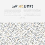 Law and justice concept with thin line icons. Judge, policeman, lawyer, fingerprint, jury, agreement, witness, scales. Vector illustration for banner, web page Stock Photos