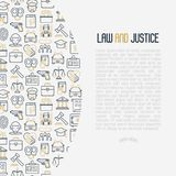 Law and justice concept with thin line icons. Judge, policeman, lawyer, fingerprint, jury, agreement, witness, scales. Vector illustration for banner, web page Stock Photo